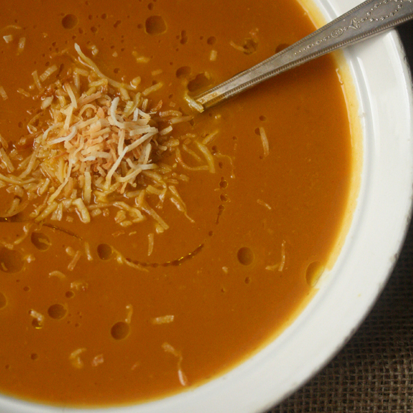 Vegan Pumpkin Soup with Toasted Coconut
