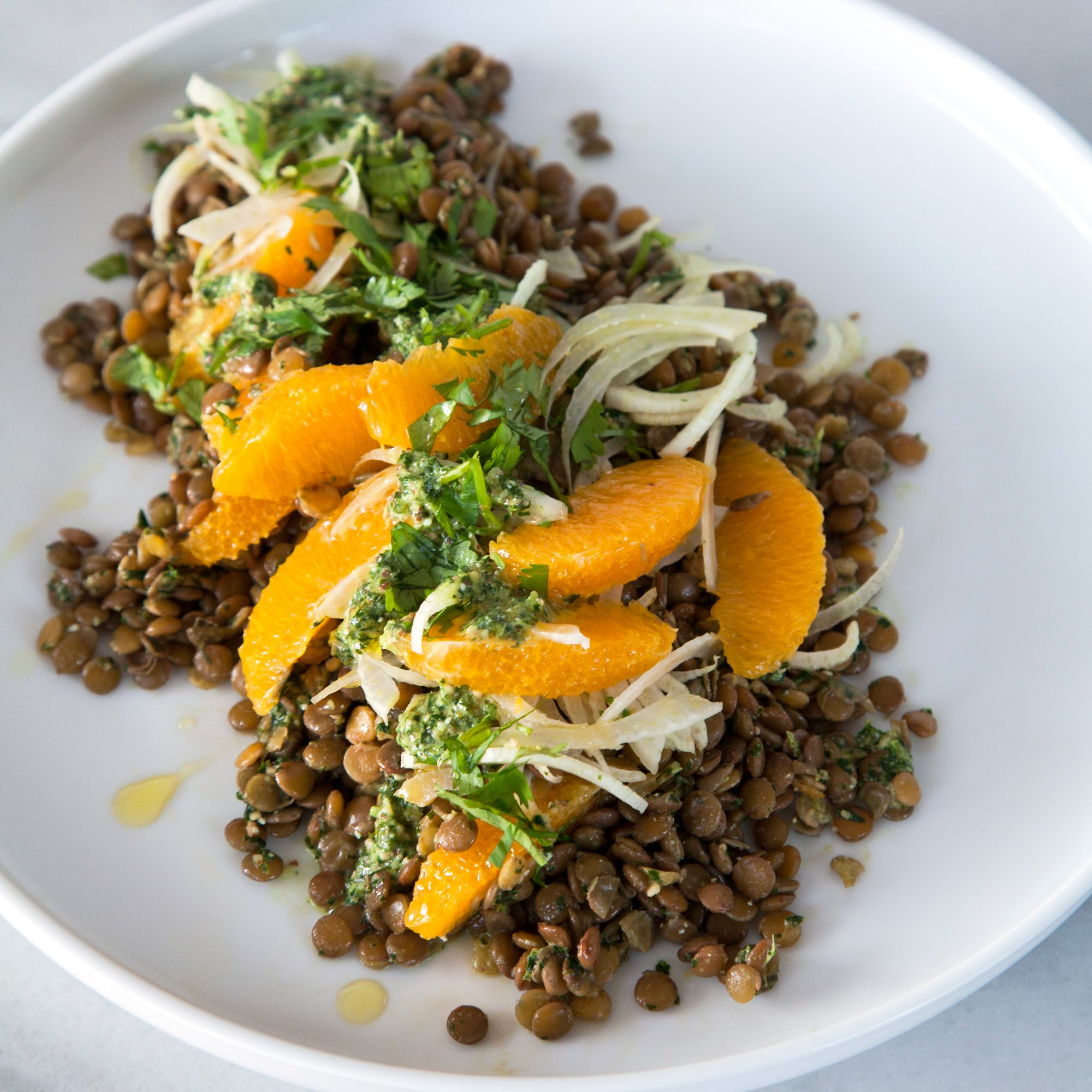 Citrus Lentil Salad with Kale Pesto