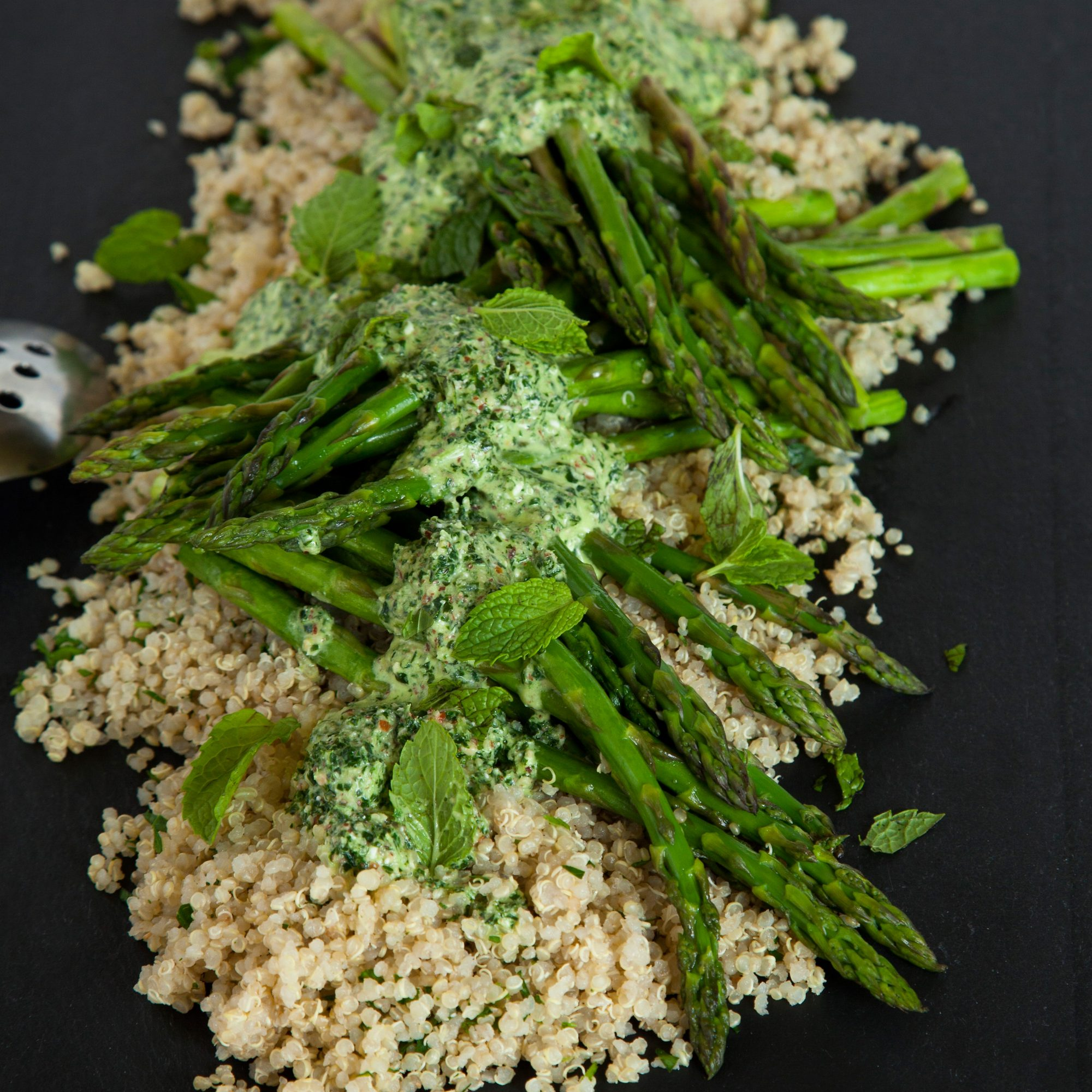 Herbed Quinoa and Roasted Asparagus with a Kale Pesto Sauce
