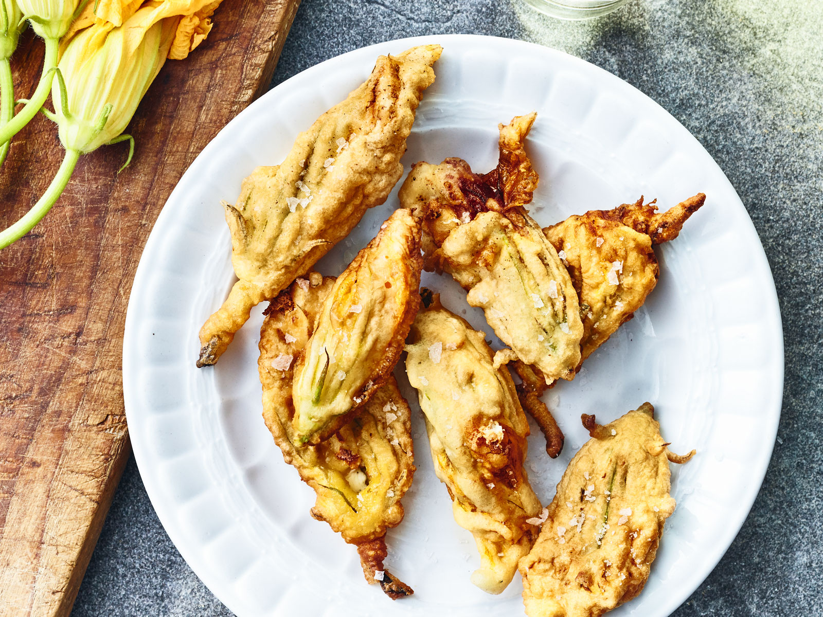 Fried Zucchini Blossoms with Prosciutto and Mozzarella