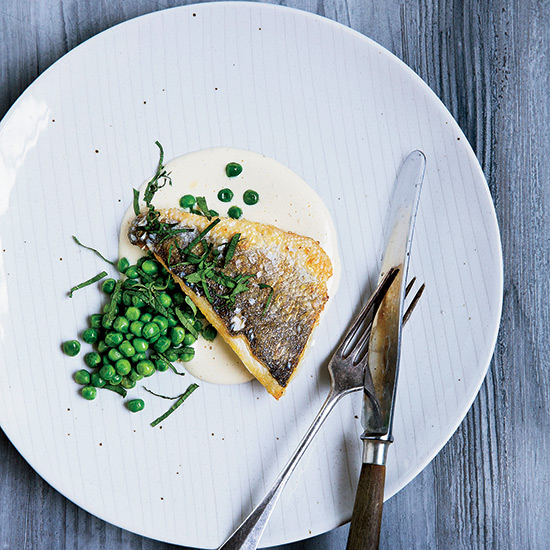 Sea Bass with Lemongrass, Peas and Mint