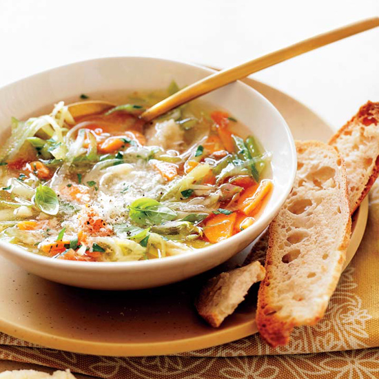 Vegetable Soup with Fennel, Herbs and Parmesan Broth