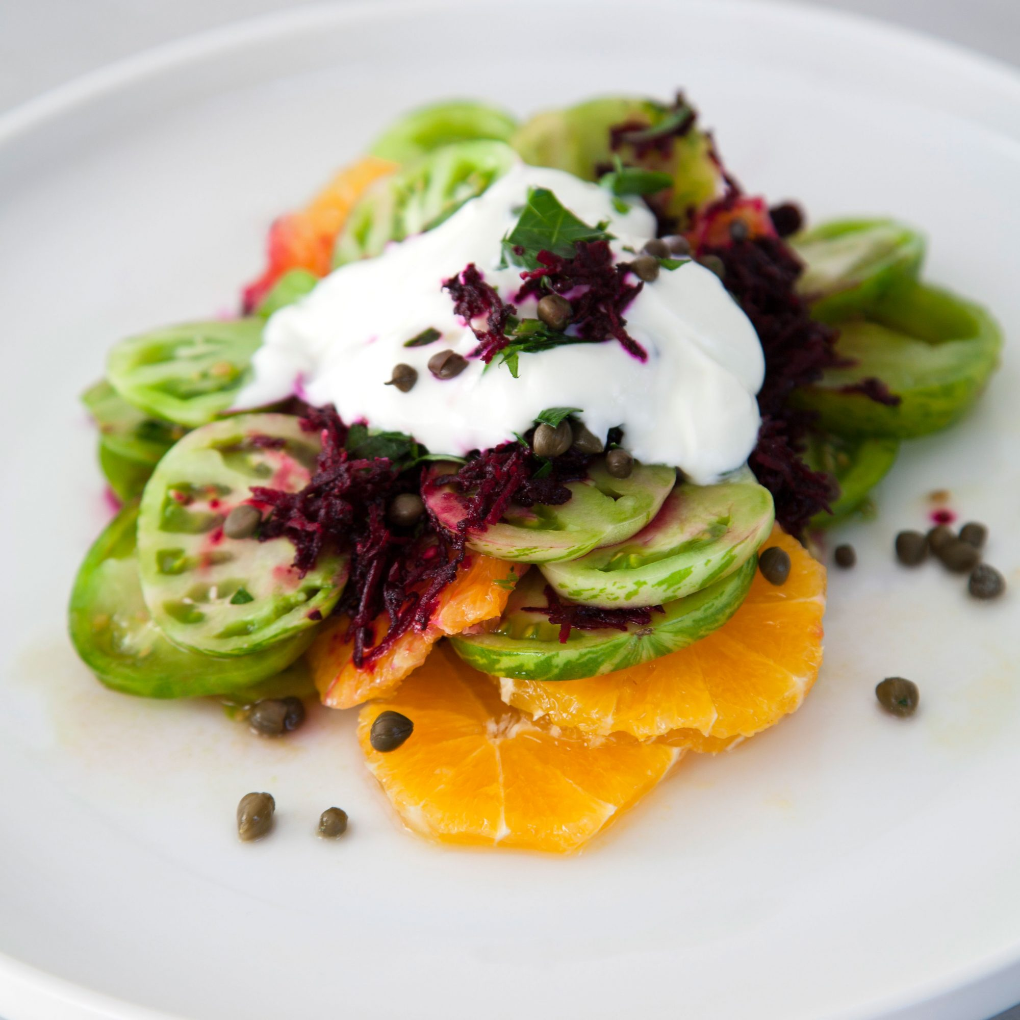 Green Tomato-Citrus Stacks with Beet-Stained Yogurt