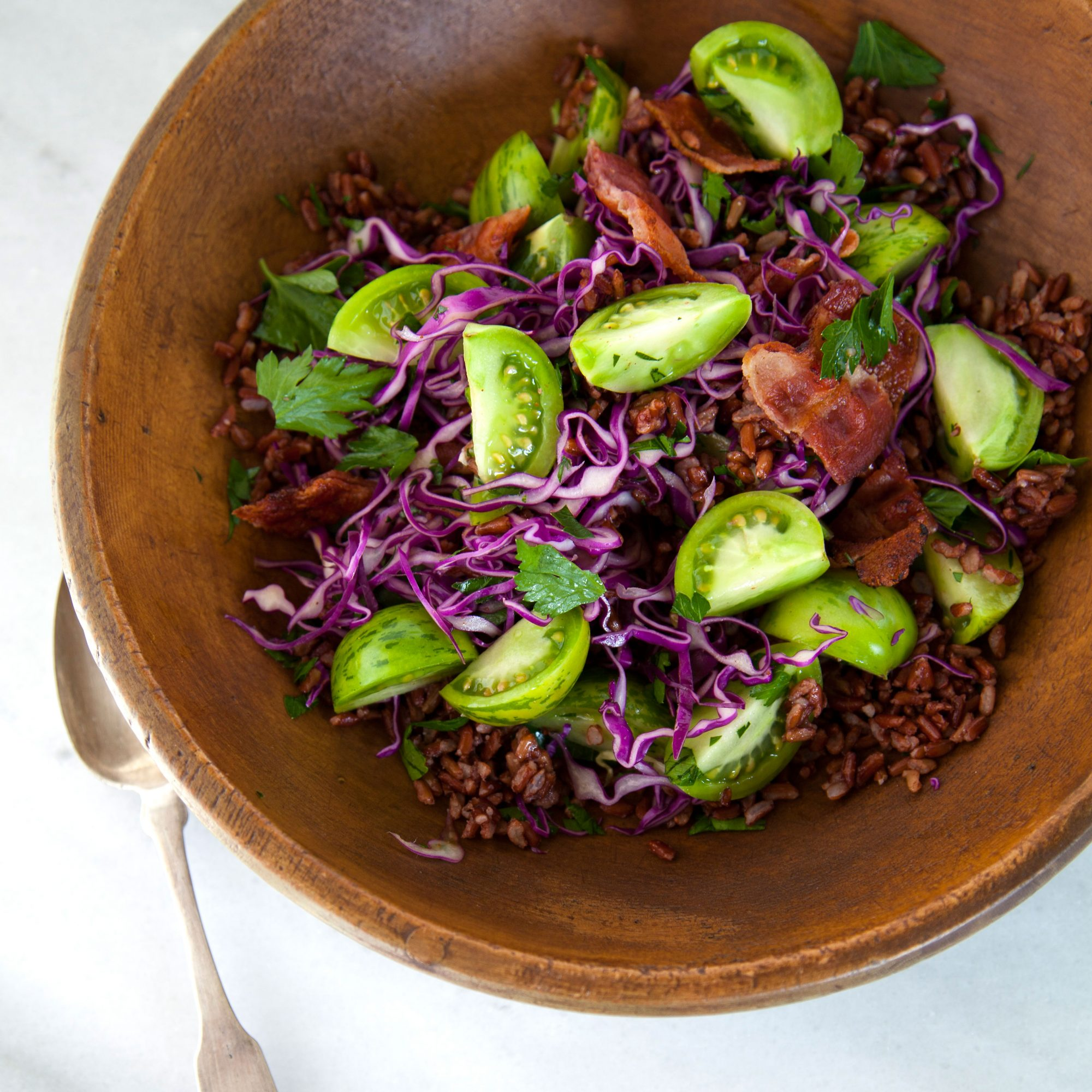 Red Rice Salad with Green Tomatoes and Smoked Bacon