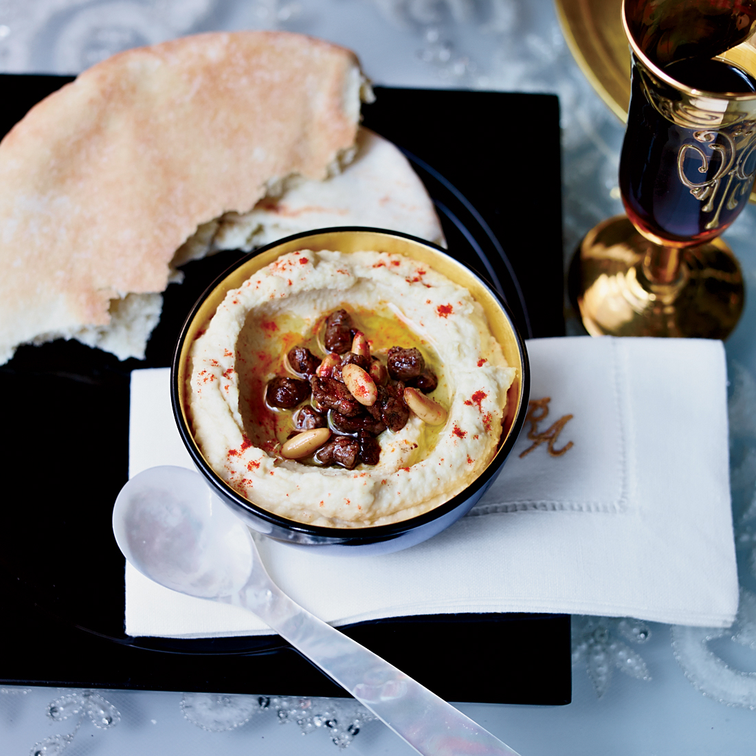 Hummus with Spiced Beef and Pine Nuts