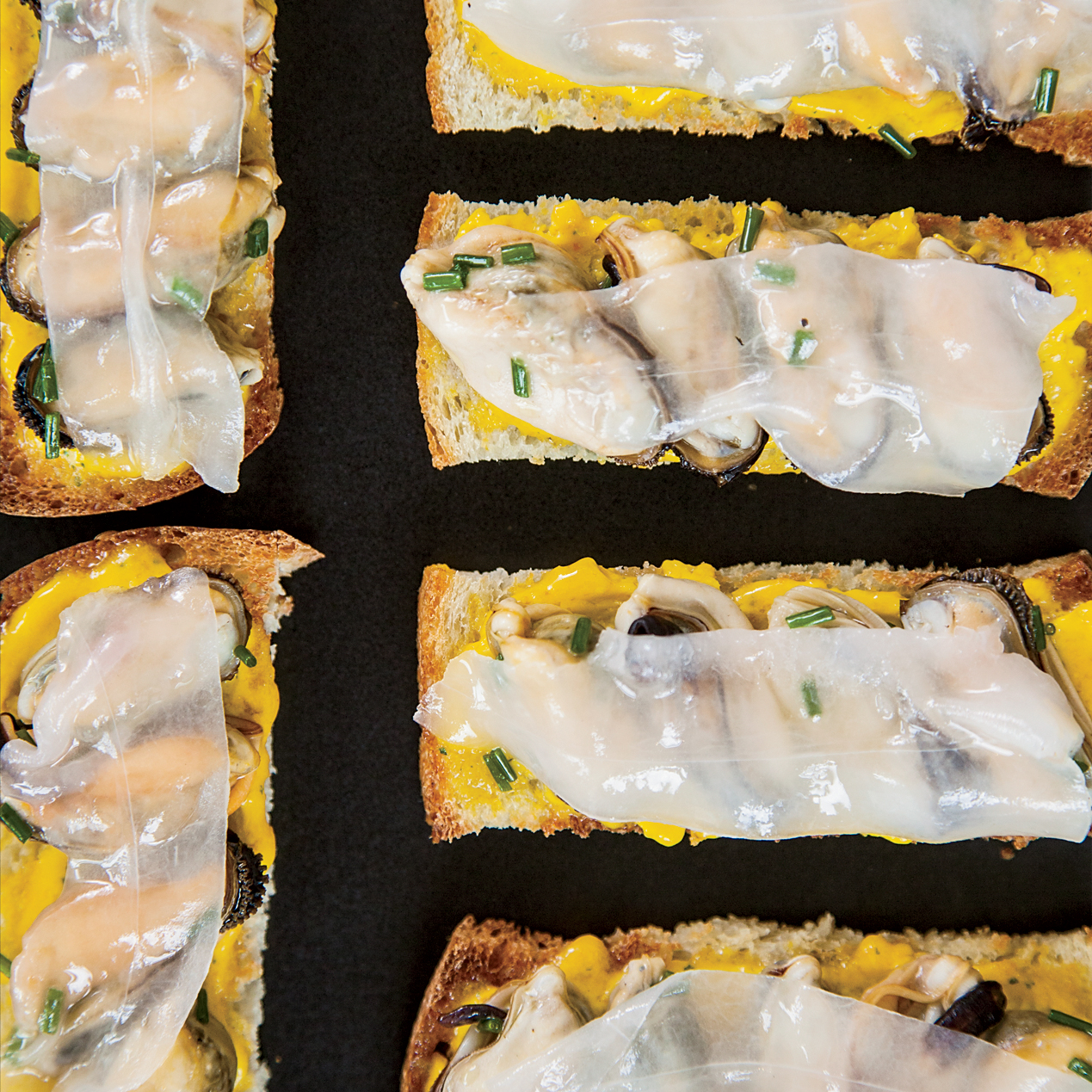 Mussel Toasts with Pickled-Carrot-and-Coriander Butter