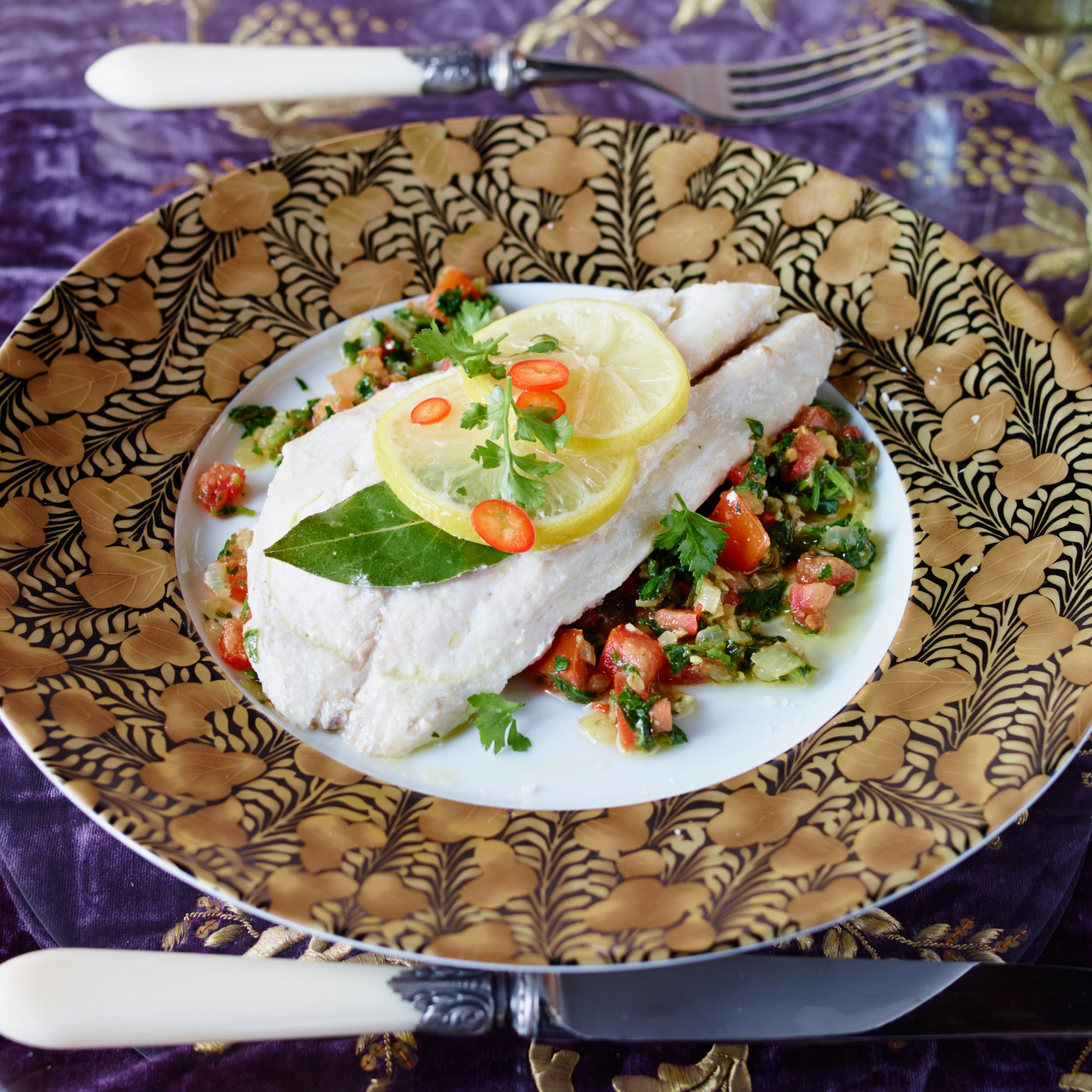 Striped Bass en Papillote with Lebanese Salad