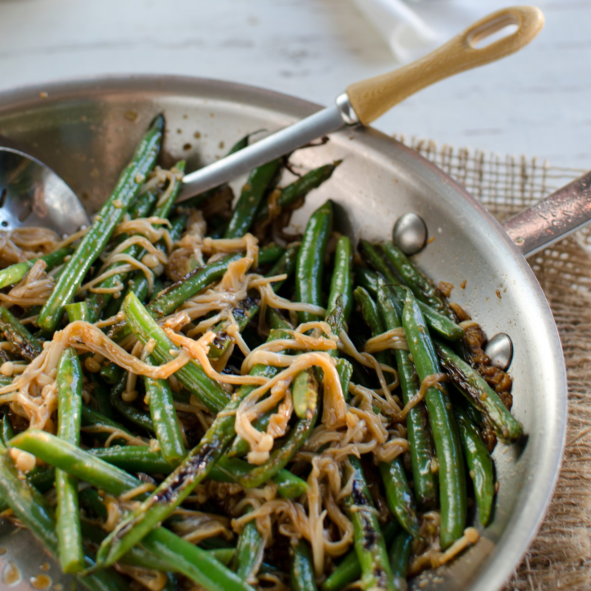 Spicy Green Bean and Enoki Mushroom Stir-Fry with Garlic and Anchovies