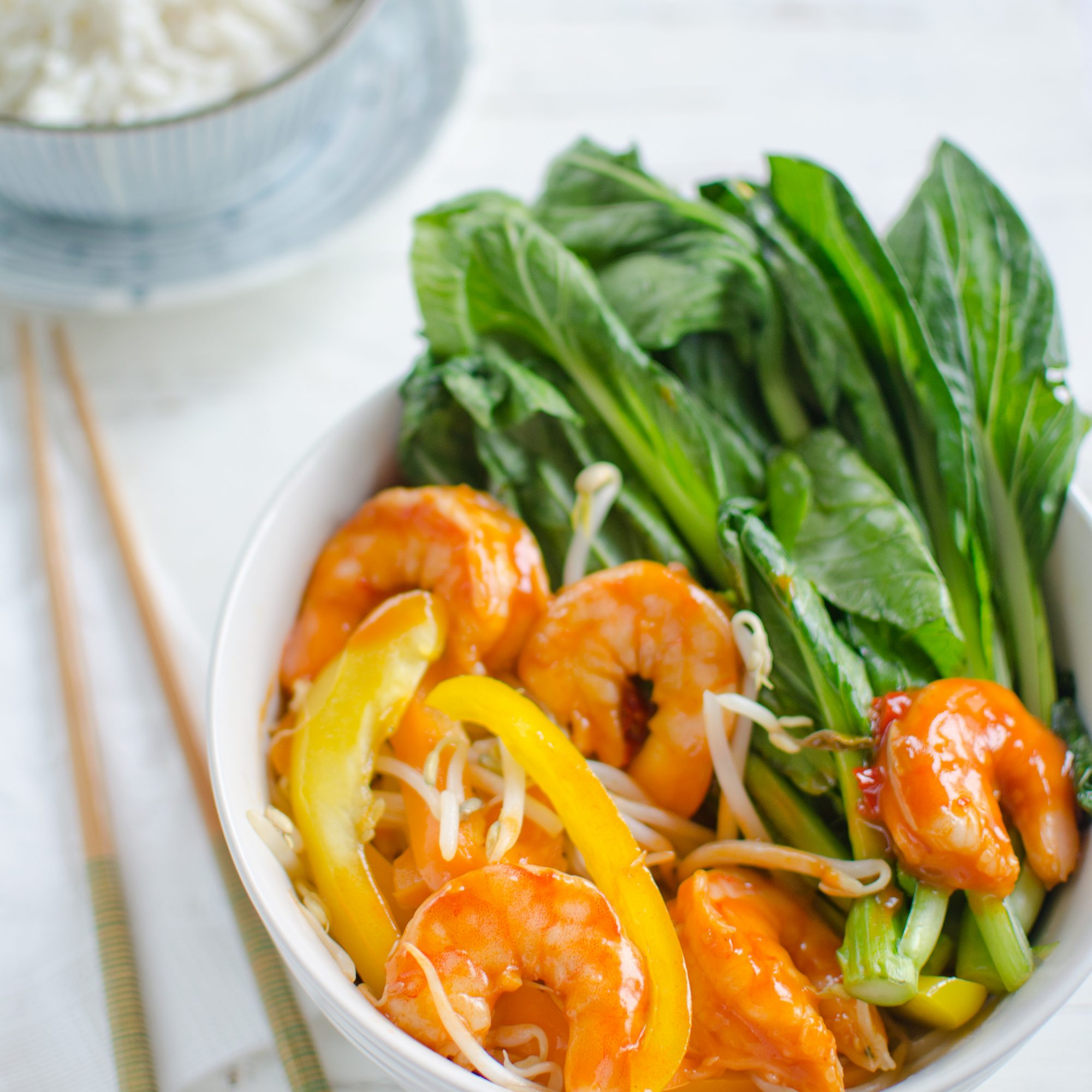 Stir-Fried Szechuan Prawns with Bean Sprouts, Peppers and Gai Lan