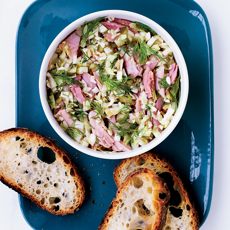 Potted Ham with Cabbage and Pickles