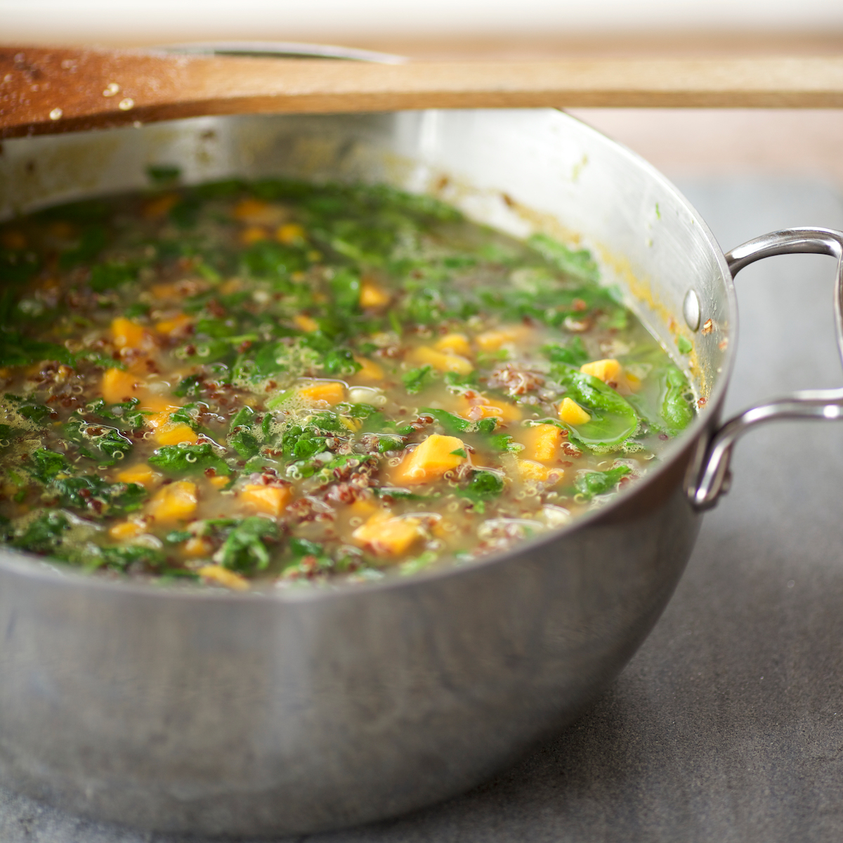 Quinoa Chowder with Sweet Potatoes and Spinach