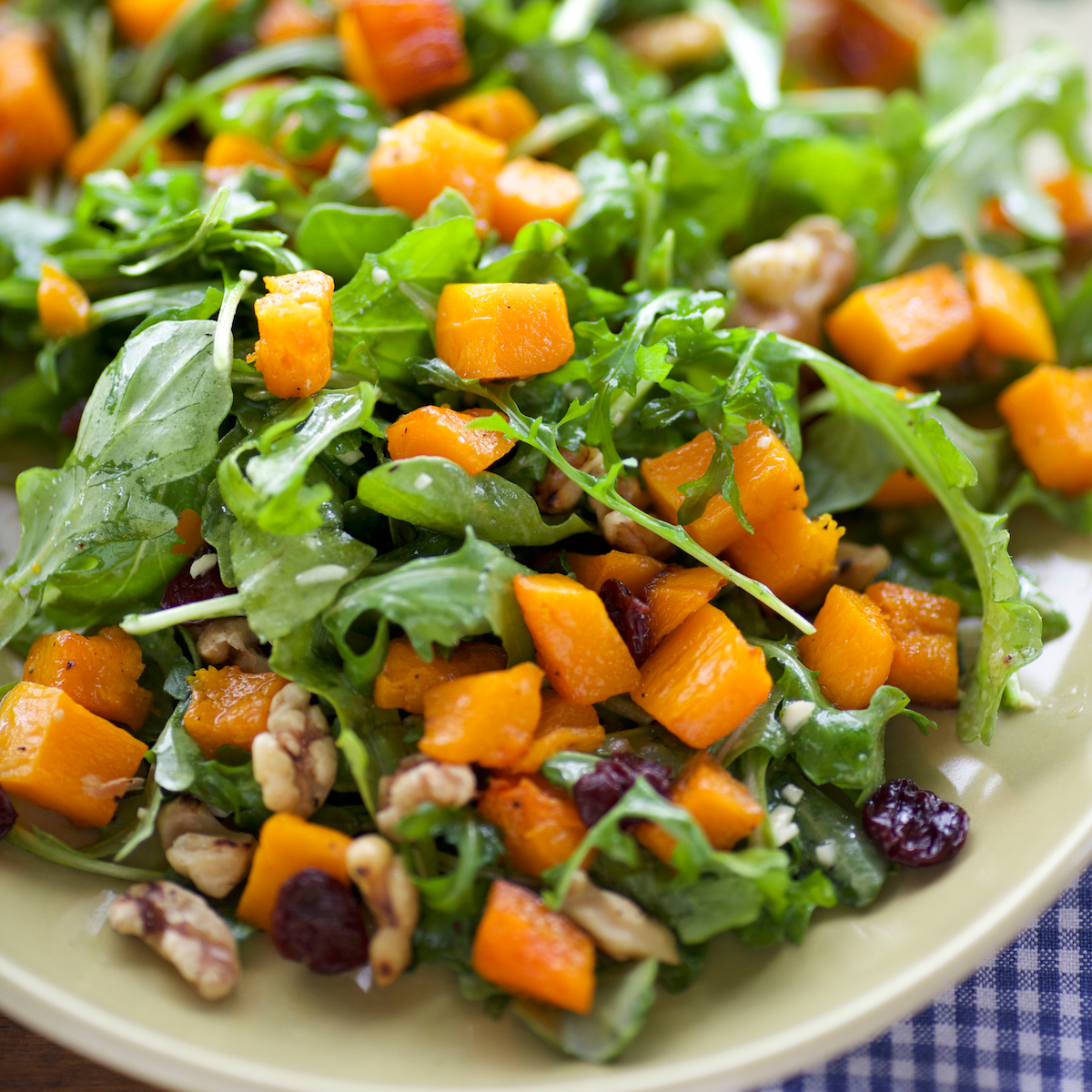 Roasted Butternut Squash Salad with Bitter Greens and Walnuts