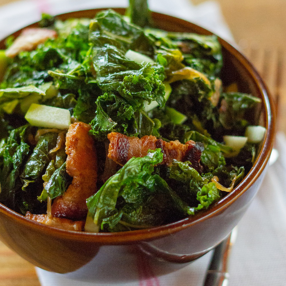 Braised Kale with Bacon and Apples