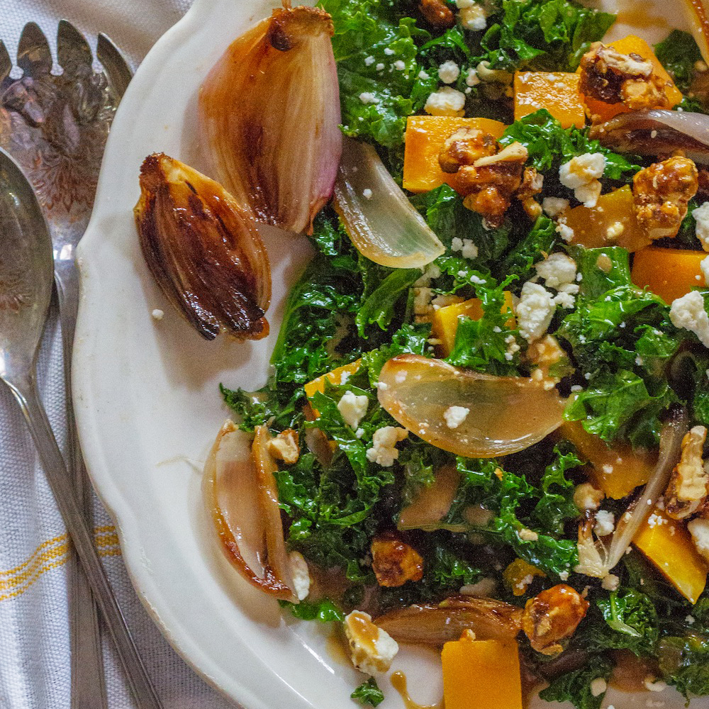 Wilted Kale Salad with Butternut Squash, Roasted Shallots and Feta