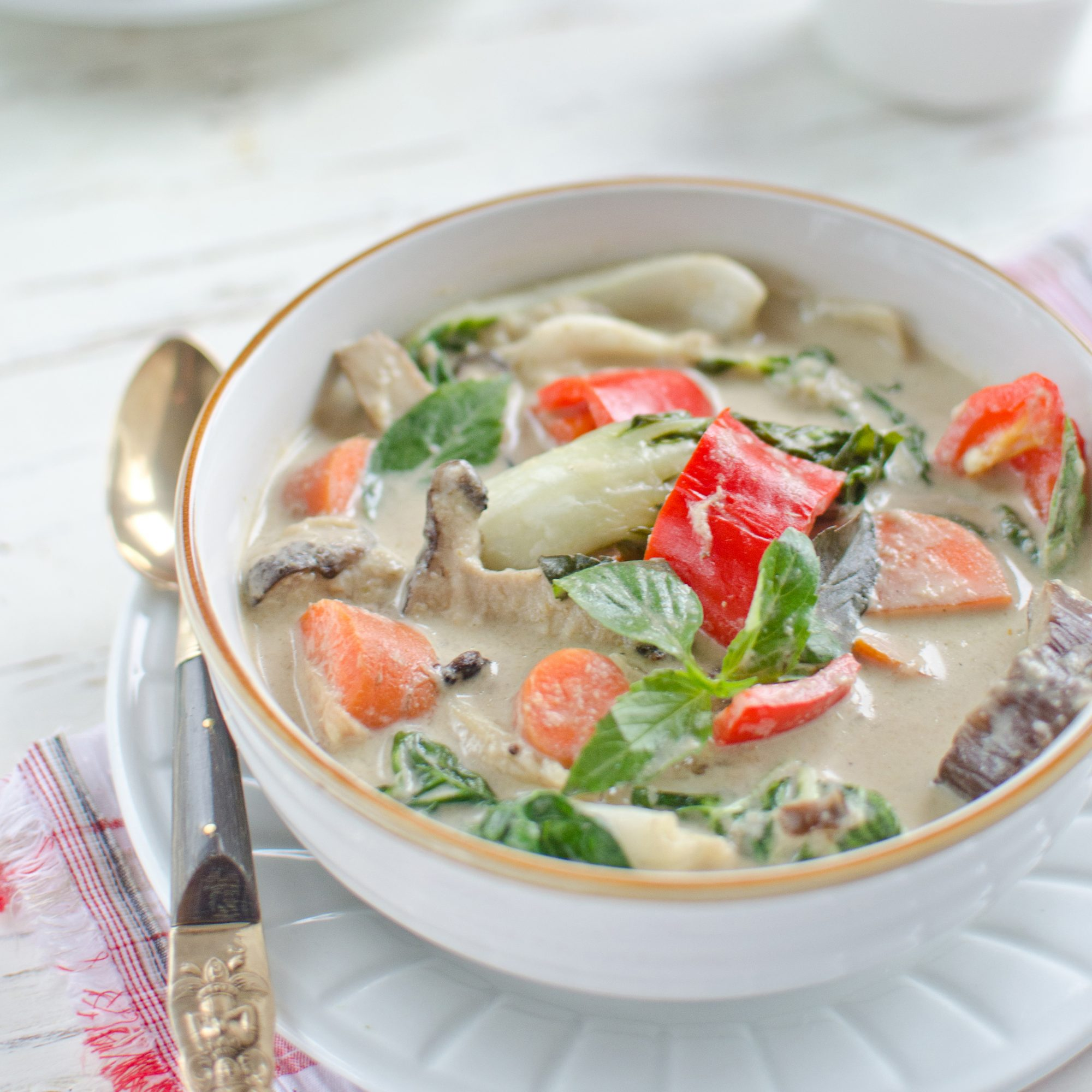 Vegetarian Green Coconut Curry with Quinoa