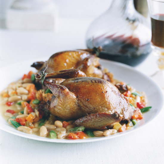 Focaccia-Stuffed Squab with Bean Stew