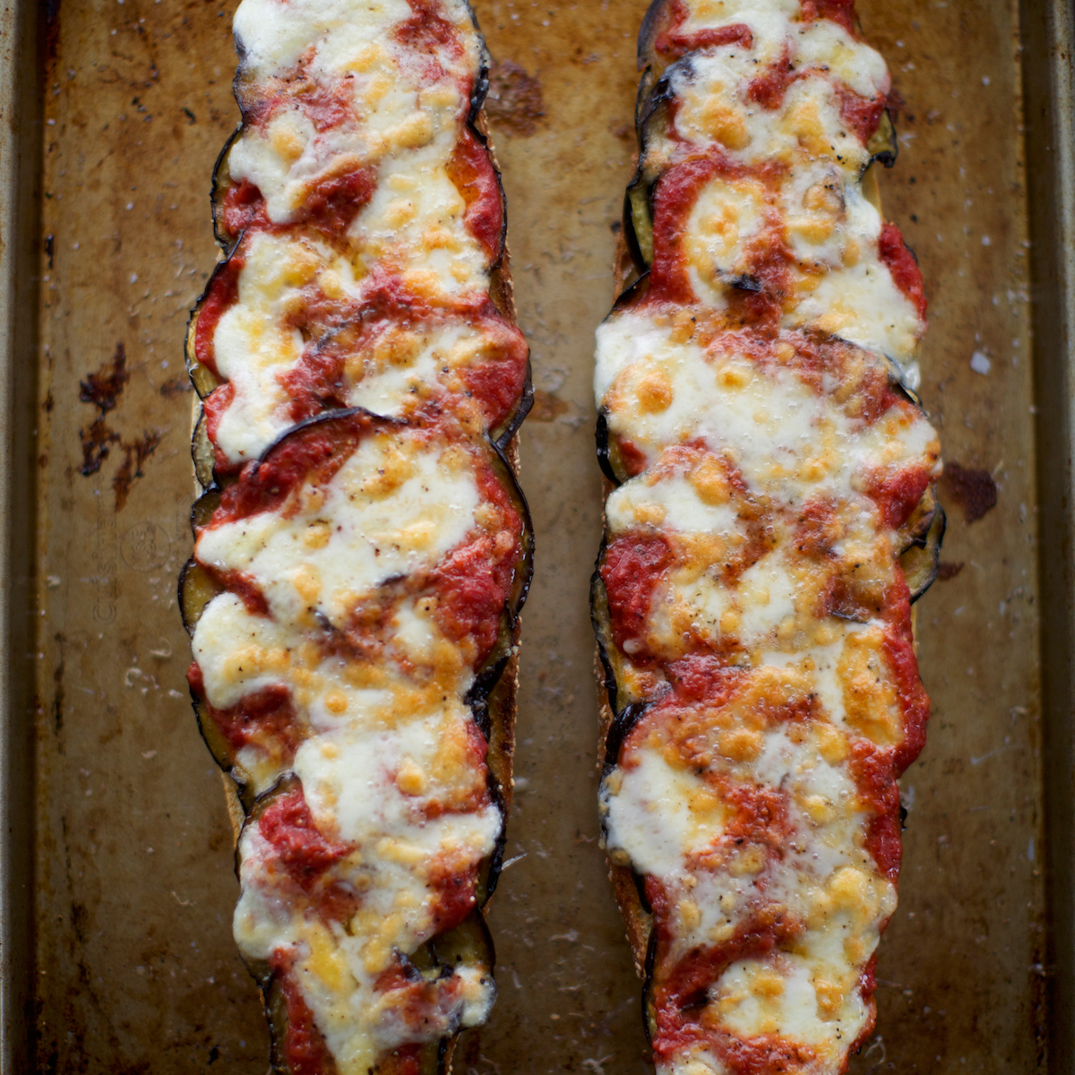 Open-Faced Roasted Eggplant Parmesan Sandwiches