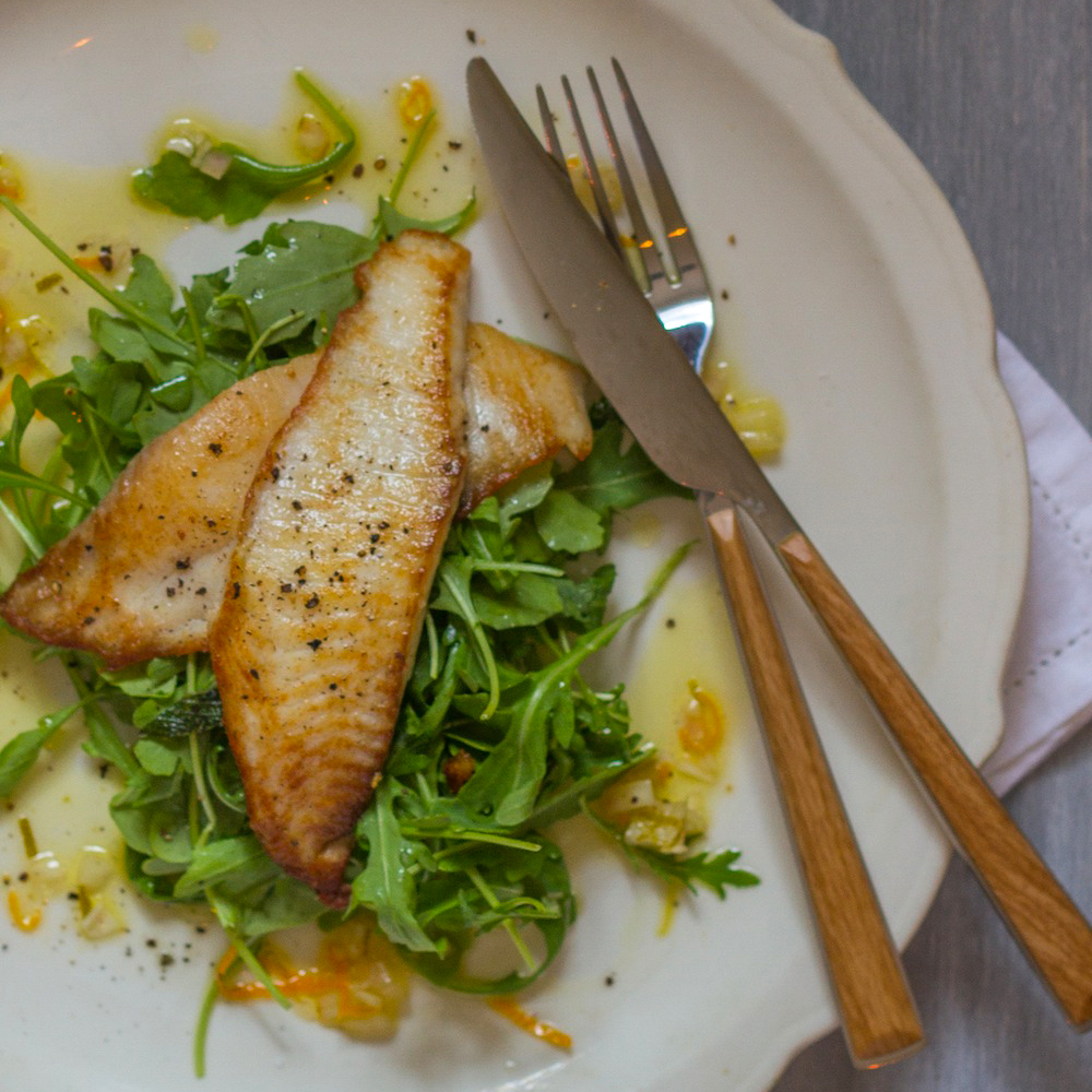 Pan-Seared Tilapia with Citrus Vinaigrette and Arugula