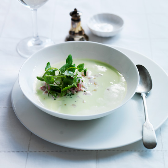 Fresh Pea Soup with Ham