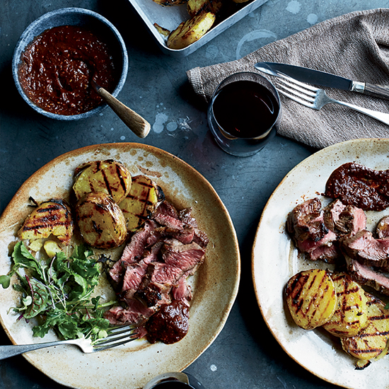 Grilled Butterflied Leg of Lamb with Ancho-Huckleberry Sauce