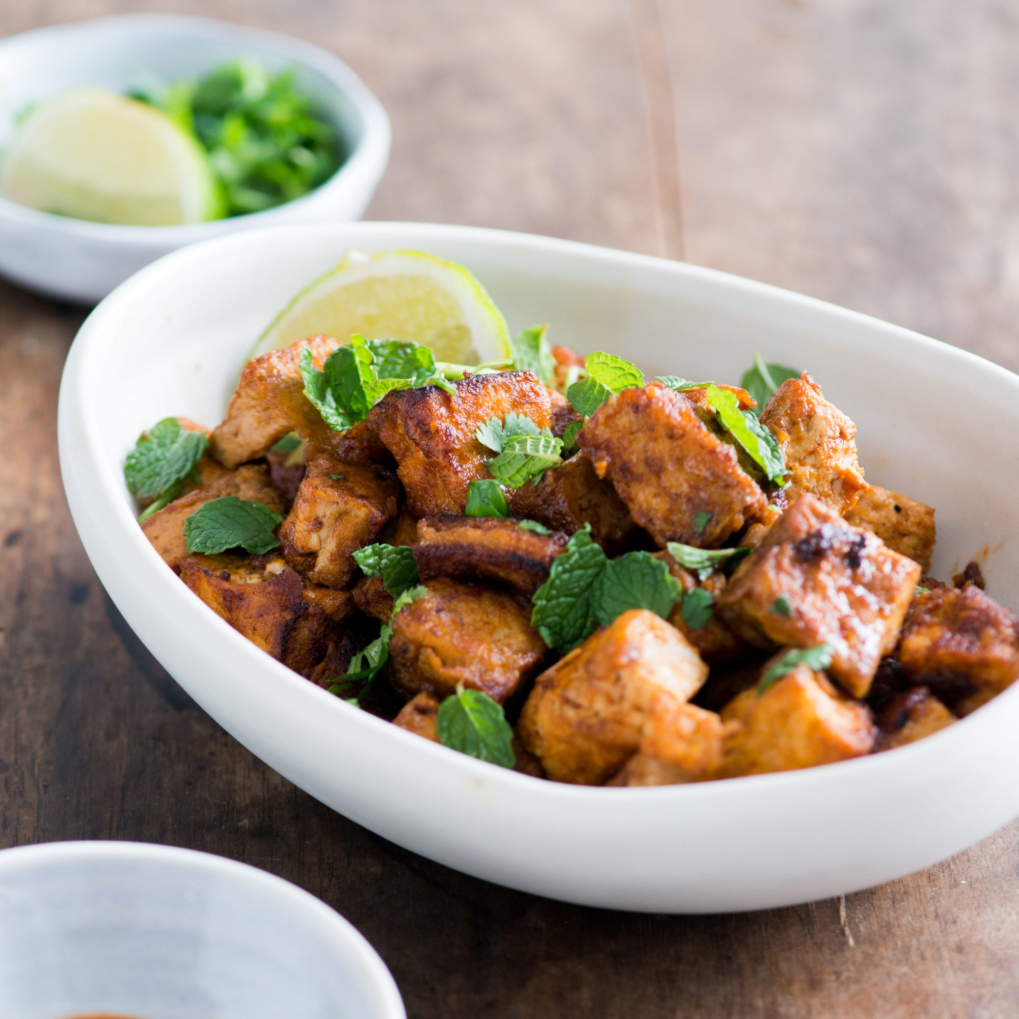 Sriracha-Garlic Tofu with Mint