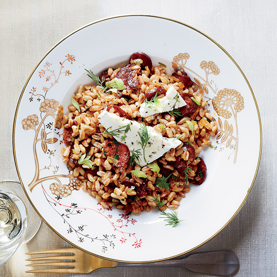 Farro with Spanish Chorizo, Feta and Dill