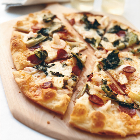 Shrimp-and-Chorizo Pizza with Escarole and Manchego