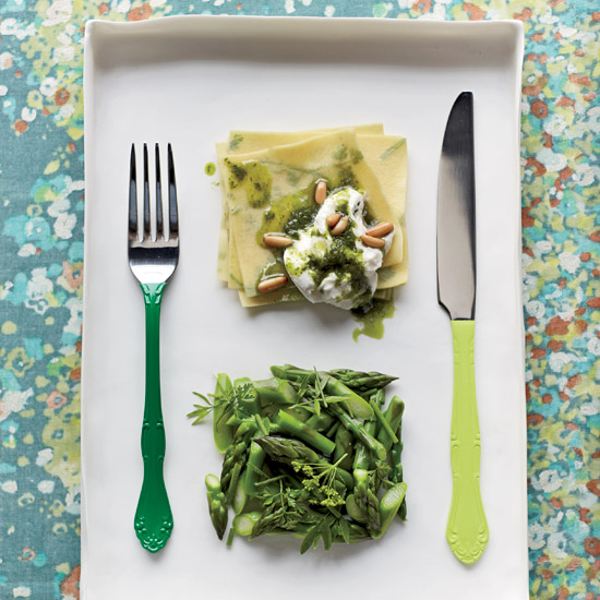 Herbed Fazzoletti with Asparagus and Burrata. Photo © Con Poulos