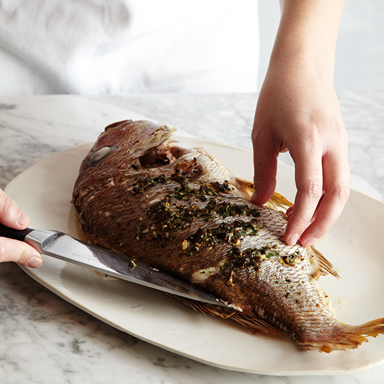 How to Roast Whole Fish: Remove Backbone