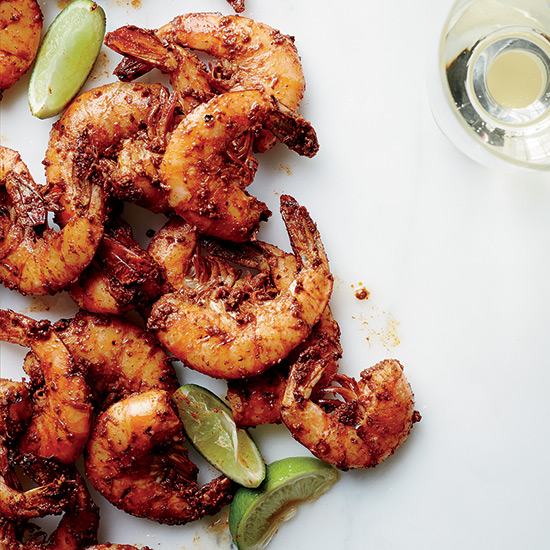 Peel-and-Eat Grilled Shrimp with Harissa
