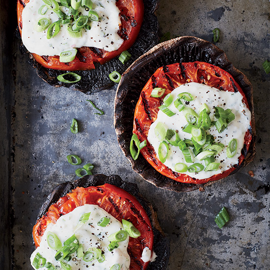 Tomato-Portobello Stacks with Cheater's Béarnaise
