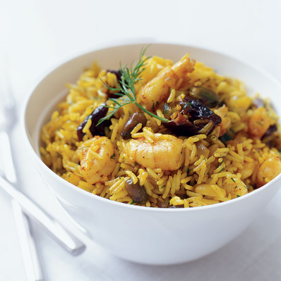 Shrimp and Rice Pilaf, Indian-Style