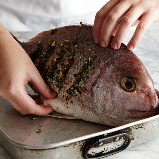 How to Roast Whole Fish: Stand Fish Upright