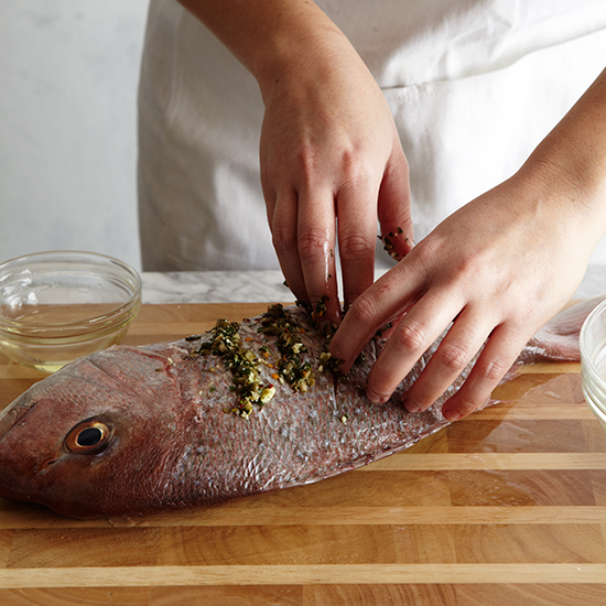 How to Roast Whole Fish: Rub Fish with Oil