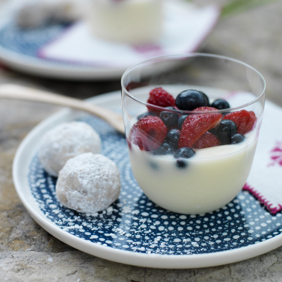 Creamy Citrus Puddings with Fresh Berries