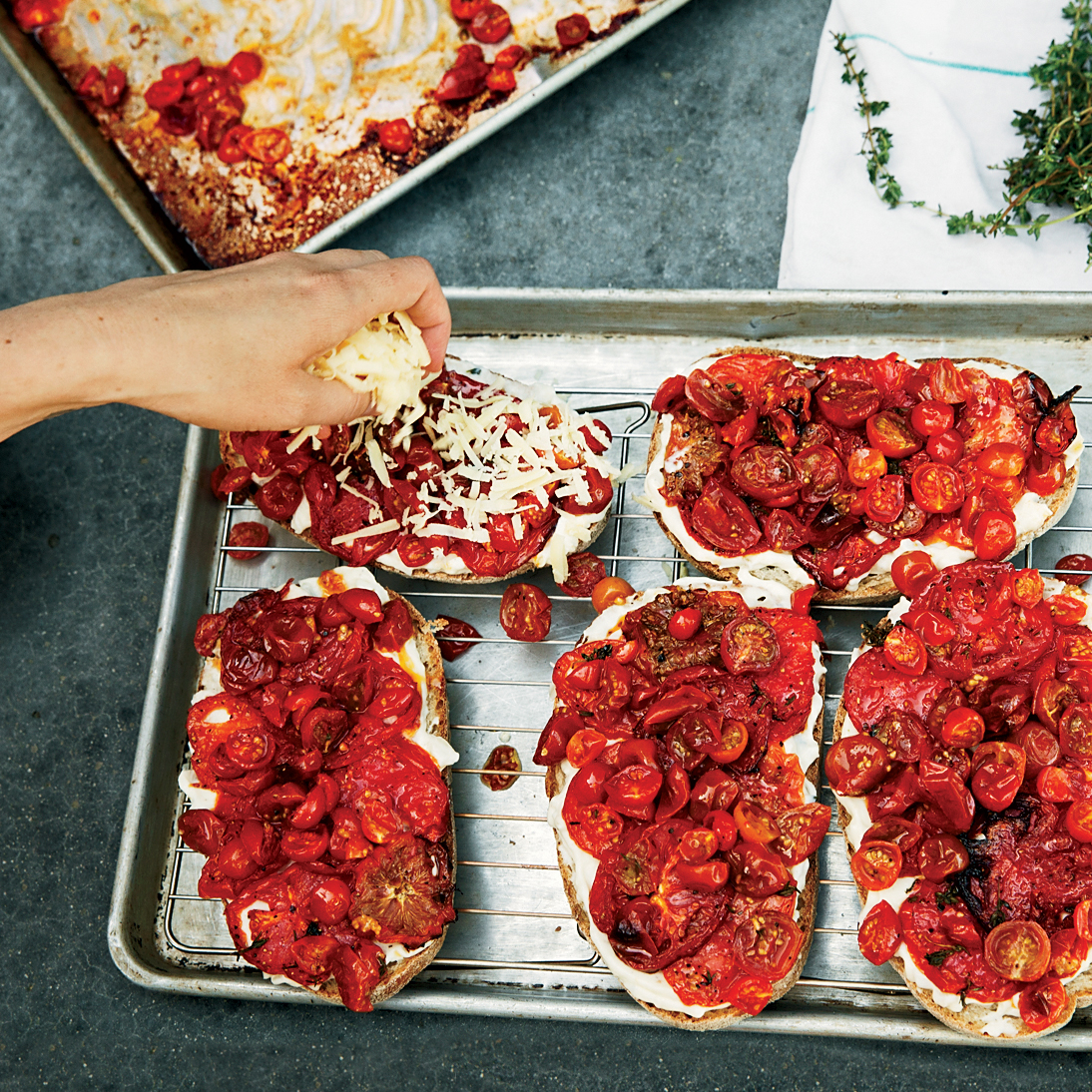 Roasted Tomato Croques with Pickled Peppers