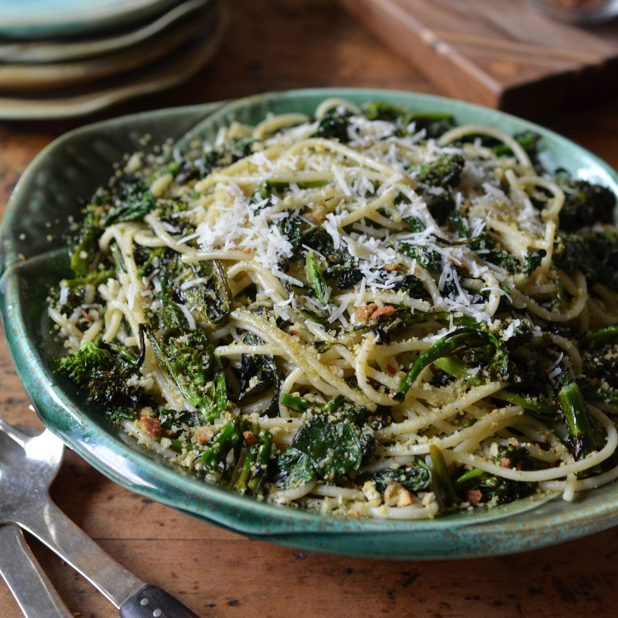 Charred Broccoli Rabe with Chitarra and Lemony Bread Crumbs