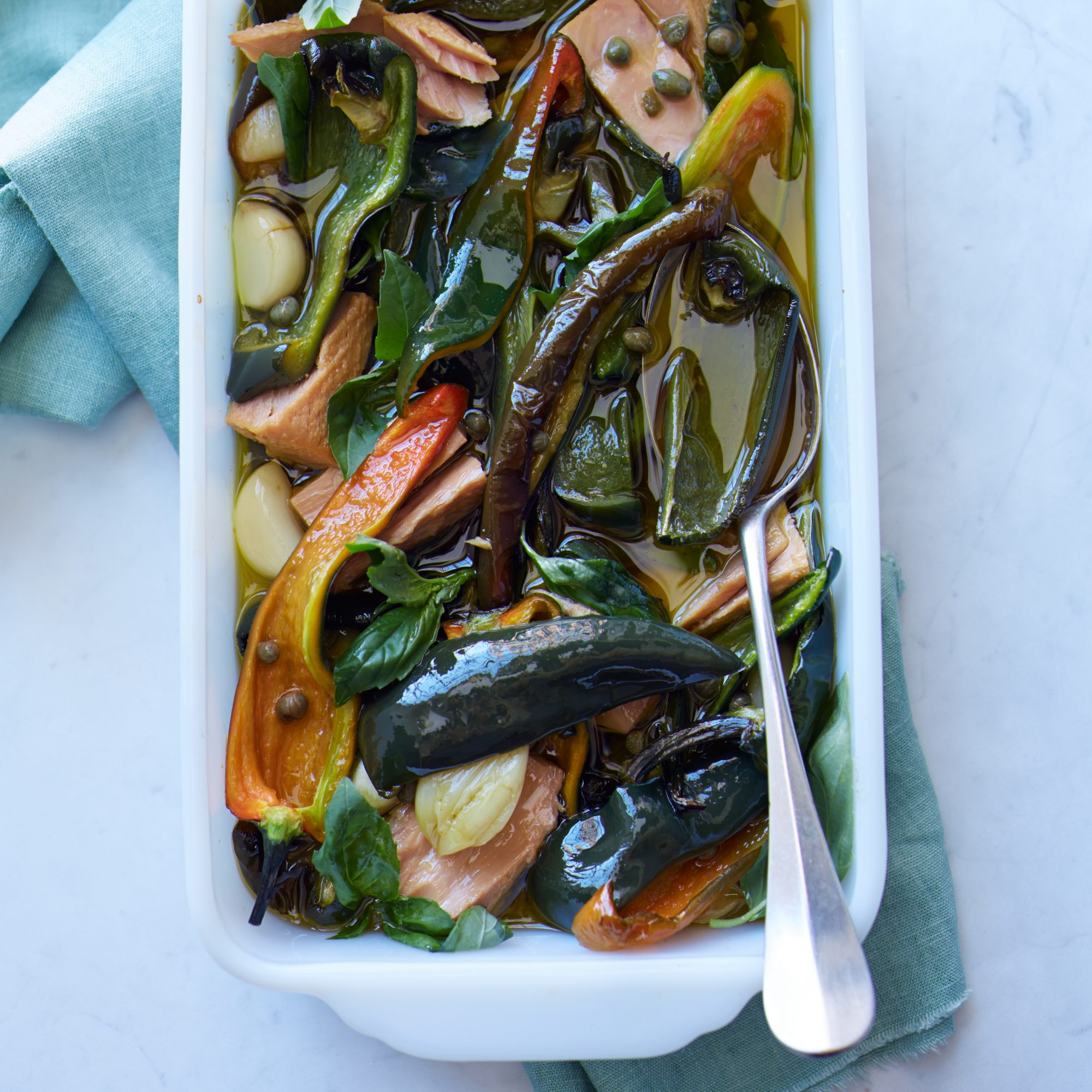 Herb-Marinated Peppers and Tuna