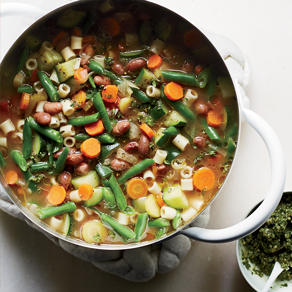 Summer Vegetable Soup with Carrot Top-Pumpkin Seed Pistou