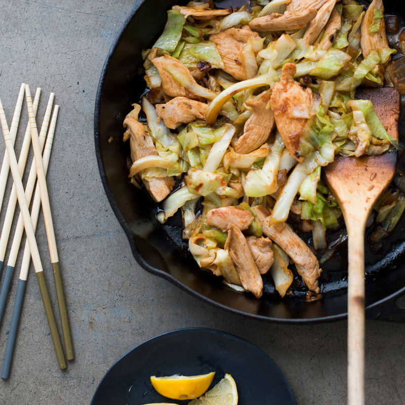 Lemon Chicken Stir-Fry with Spicy Cabbage