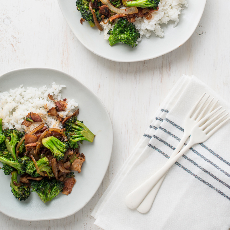 Spicy Broccoli and Bacon Stir-Fry