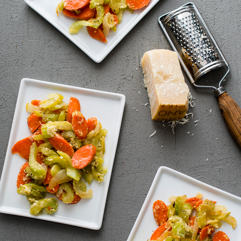 Stir-Fried Celery and Carrots with Parmigiano-Reggiano