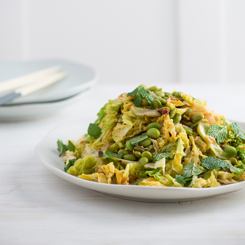 Spicy Stir-Fried Savoy Cabbage and Edamame with Fresh Mint