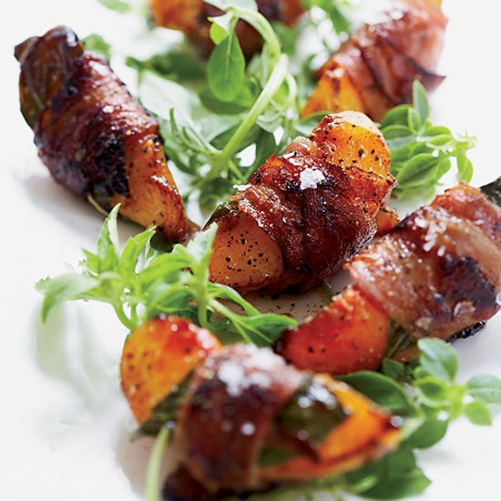 Pancetta-Wrapped Peaches with Basil and Aged Balsamic