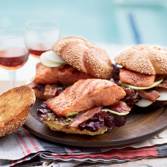 Grilled Glazed-Salmon Sandwiches with Bacon