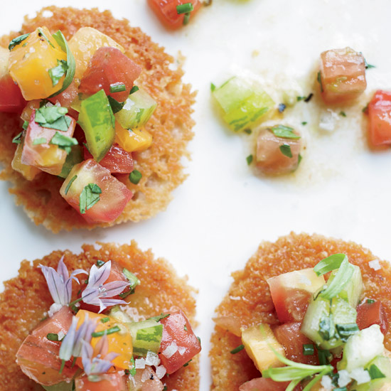 Parmesan Tuiles with Heirloom Tomato Salad
