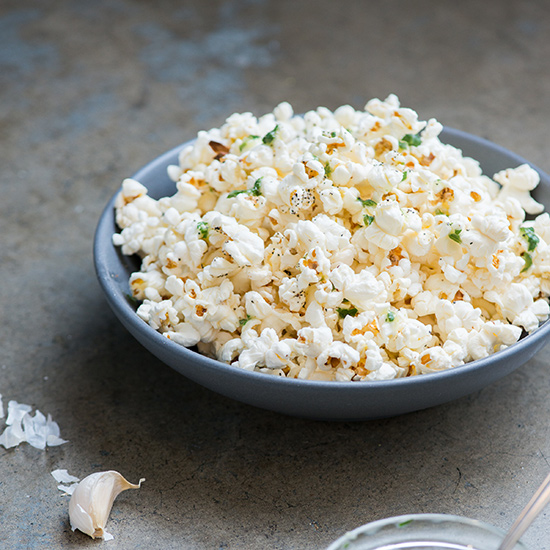 Garlic Butter Popcorn with Parsley