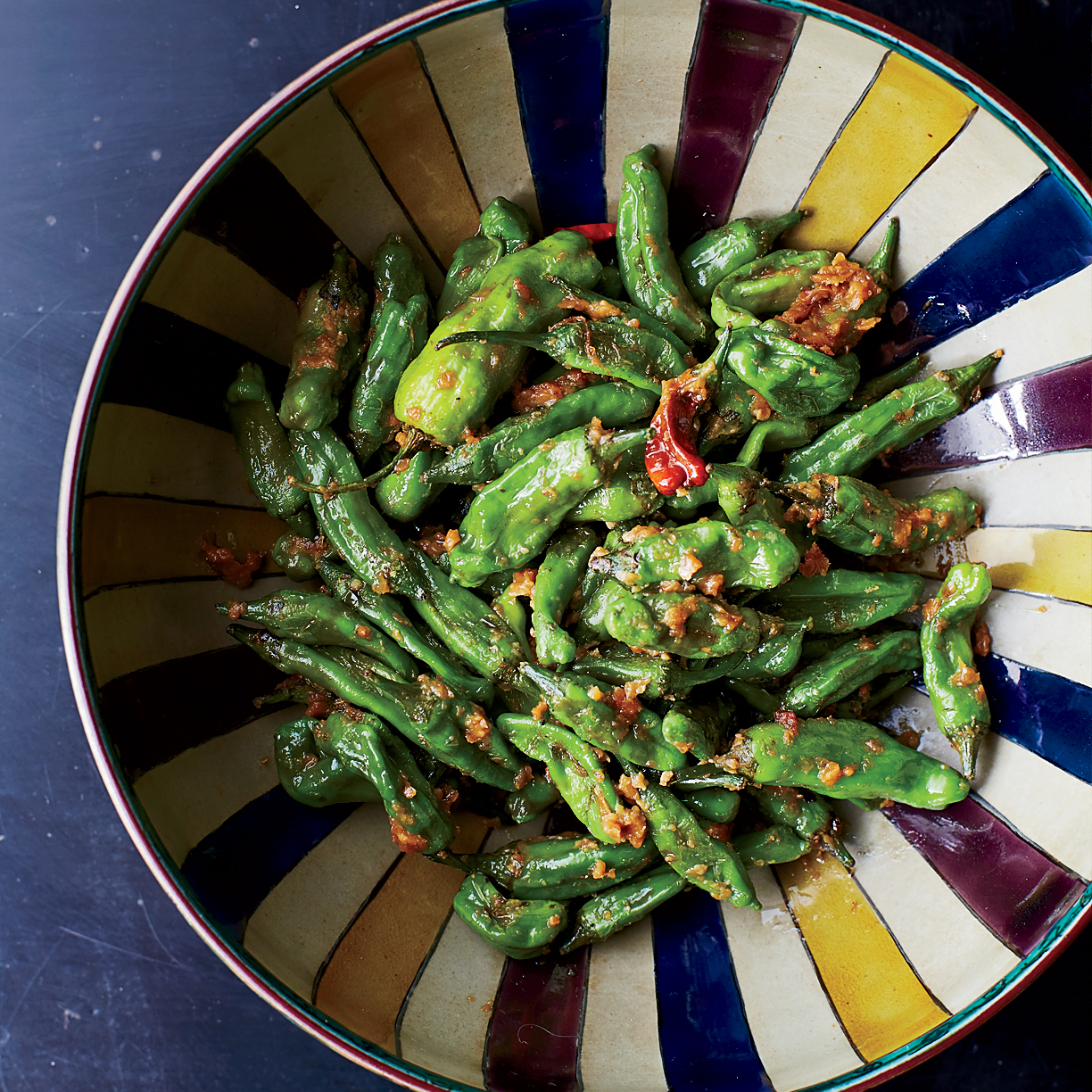Blistered Shishito Peppers with Miso