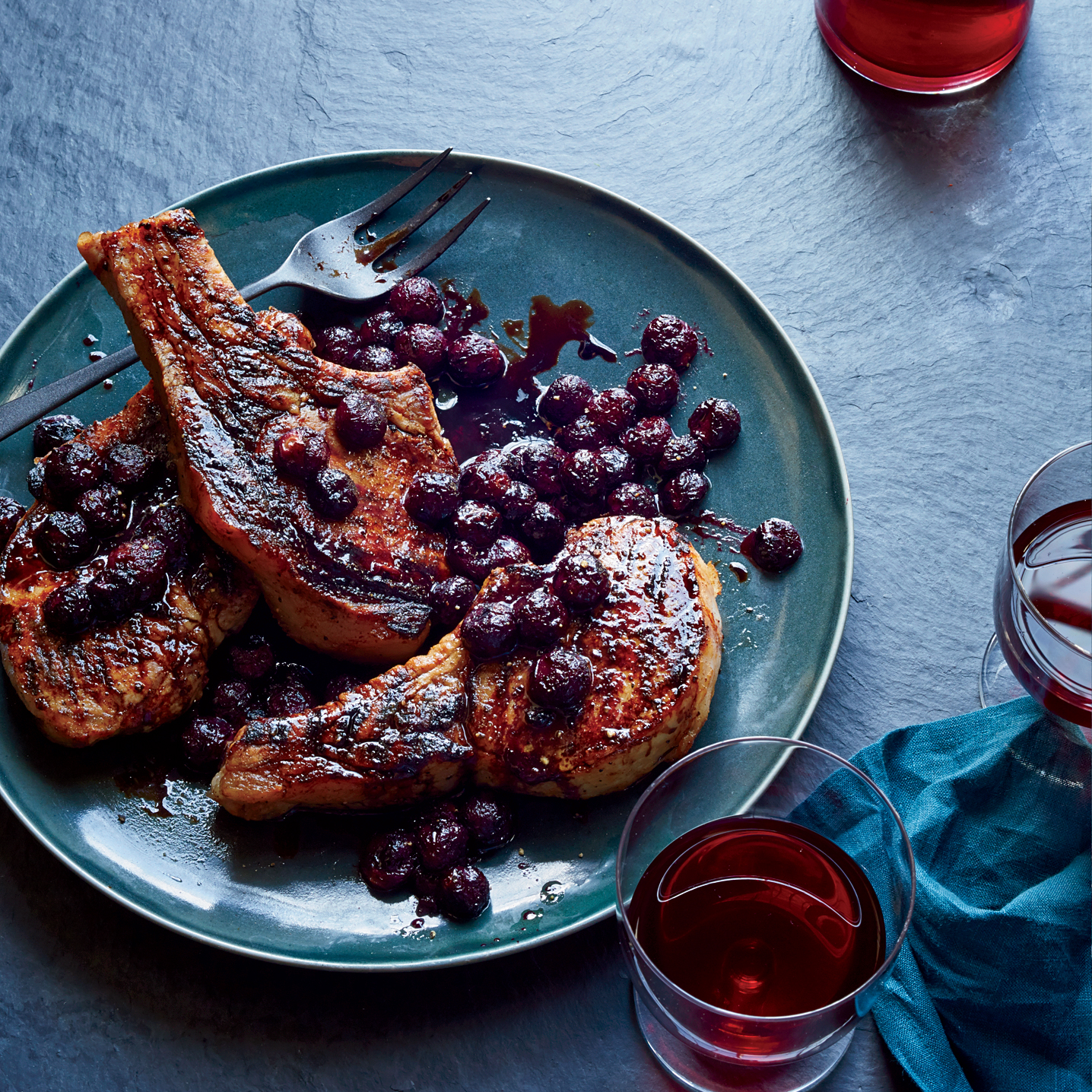 Grilled Pork Chops with Concord Grapes