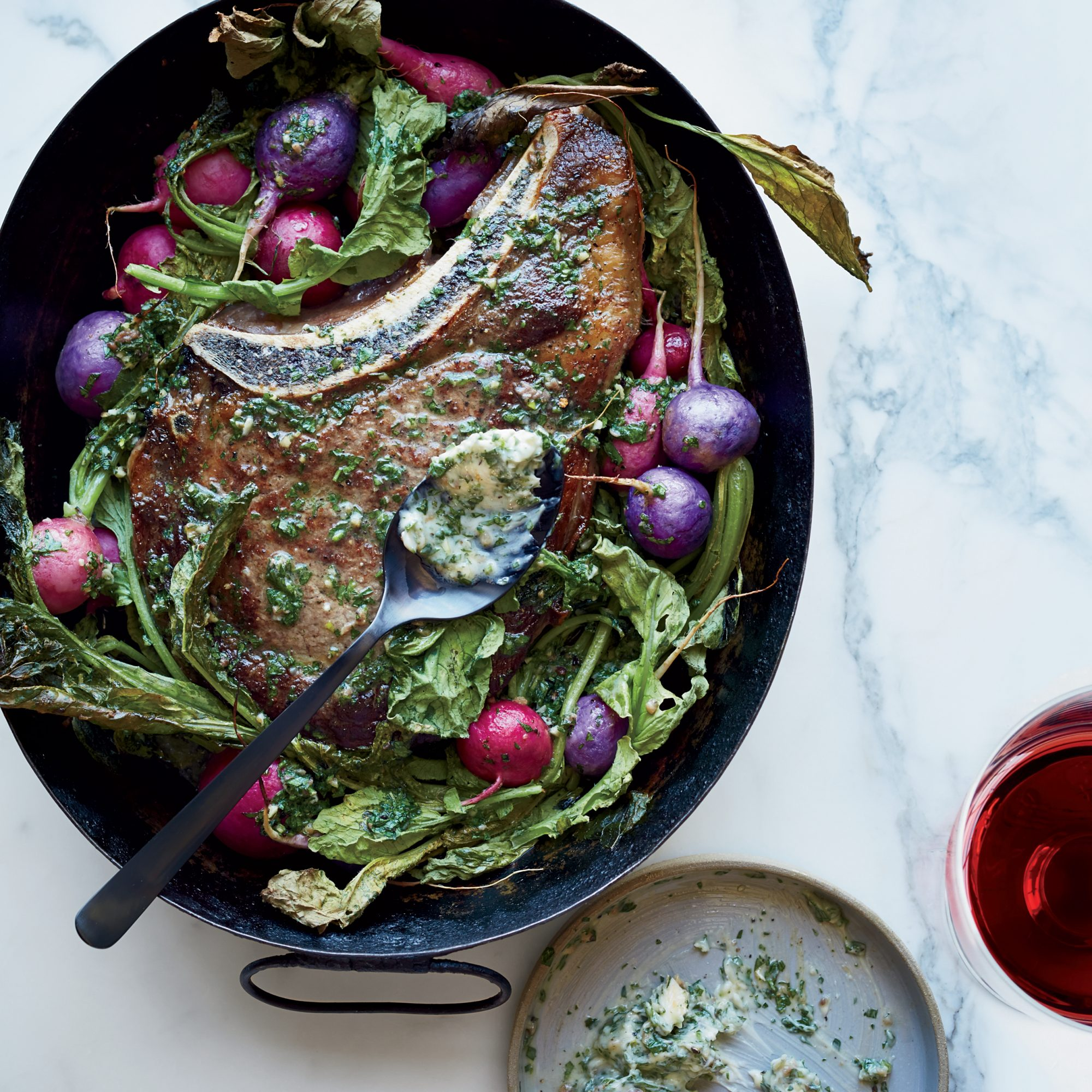 Rib Eye and Radishes in Bagna Cauda Butter